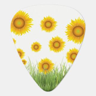 明るく、エレガントなヒマワリのグラフィック・デザイン ギターピック