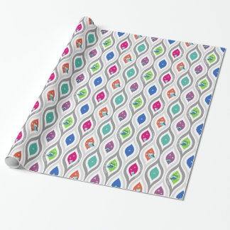 明るく、波状のフクロウのプリントの休日の包装紙 ラッピングペーパー
