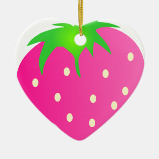 明るく、陽気なピンクのいちご セラミックオーナメント