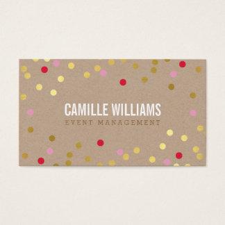 明白ではっきりしたでミニマルな紙吹雪の金ゴールドのピンクの赤クラフト 名刺