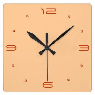 明白で暖かい黄色>台所時計 スクエア壁時計