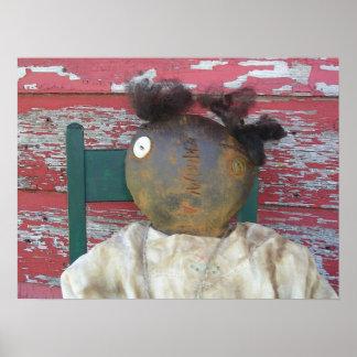 明白で、シンプルで初期のな人形のプリント ポスター