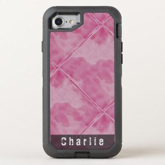 明白なタイルの陶磁器の表面のピンク文字 オッターボックスディフェンダーiPhone 8/7 ケース