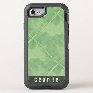 明白なタイルの陶磁器の表面の緑文字 オッターボックスディフェンダーiPhone 8/7 ケース