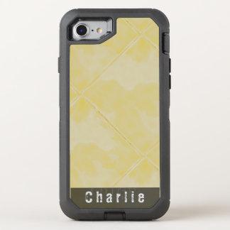 明白なタイルの陶磁器の表面の黄色文字 オッターボックスディフェンダーiPhone 8/7 ケース