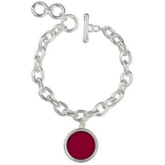 明白なルビー色の赤いデザイン>銀製のチャームブレスレット チャームブレス