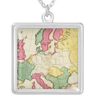 明白な地図ヨーロッパ シルバープレートネックレス
