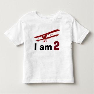 明白な赤の飛行機の誕生日 トドラーTシャツ