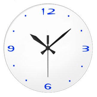 明白な青および白>台所時計 ラージ壁時計