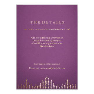 明細カードを結婚する金ゴールドおよび紫色のdecoのヴィンテージ 11.4 x 15.9 インビテーションカード