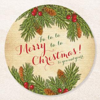 昔ながらのなクリスマスのクリスマスのマツ果実の円錐形 ラウンドペーパーコースター