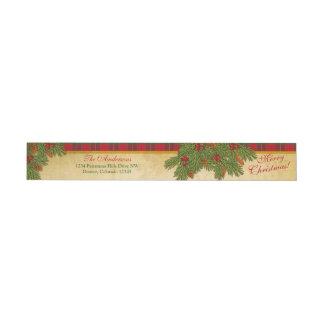 昔ながらのなクリスマスの格子縞のクリスマスの差出人住所 ラップアラウンド返信用宛名ラベル