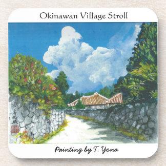 昔ながらのな沖縄の村の絵画のコースター コースター