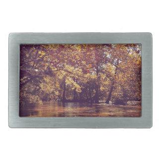 昔の秋の川 長方形ベルトバックル