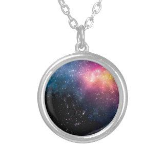 星および星雲 シルバープレートネックレス