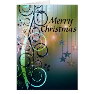 星および渦巻のメリークリスマス グリーティングカード