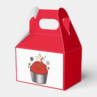 星および雪片が付いているクリスマスのカップケーキ フェイバーボックス