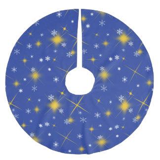 星および雪片の真夜中のクリスマスツリーのスカート ブラッシュドポリエステルツリースカート