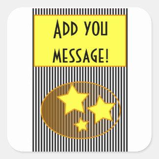 星および黒のストリップはあなたのメッセージを加えます! ステッカー