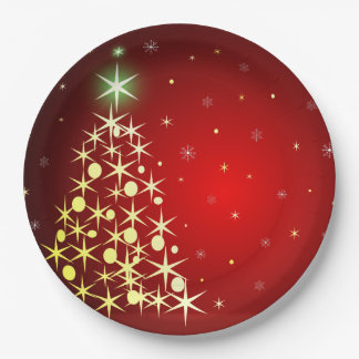 星が付いているクリスマスツリー ペーパープレート