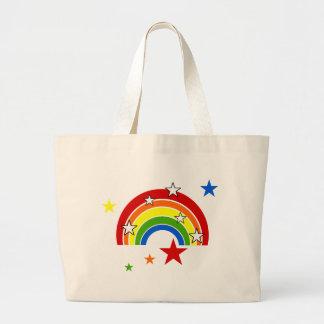 星が付いている明るい虹 ラージトートバッグ