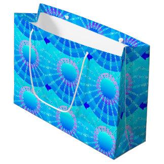 星が付いている曼荼羅-ターコイズのサテンの勾配 ラージペーパーバッグ