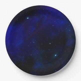 星が付いている真夜中の青空 ペーパープレート