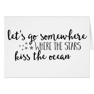 星が海のブランクのメッセージカードにどこに会うか行って下さい カード