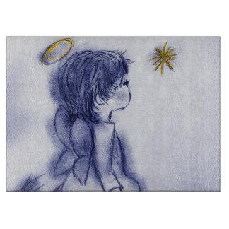 星で望む天使-青い色合い カッティングボード