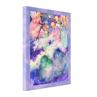 星で遊んでいるヴィンテージの天使の子供 キャンバスプリント