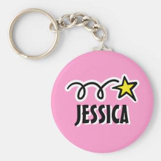 星との女の子|のピンクのための名前入りなkeychain キーホルダー