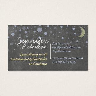 星との黒板のデザイン、月、着色されたチョーク 名刺