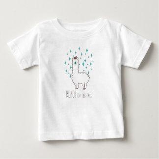 """""""星のための範囲""""の甘いラマのイラストレーション ベビーTシャツ"""