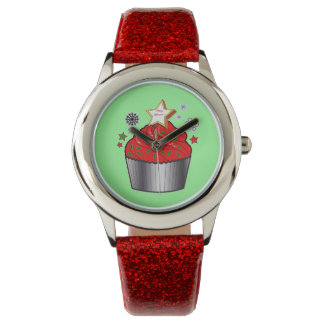 星のクッキーが付いているクリスマスのカップケーキ 腕時計