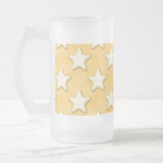 星のクッキーパターン。 金黄色 フロストグラスビールジョッキ