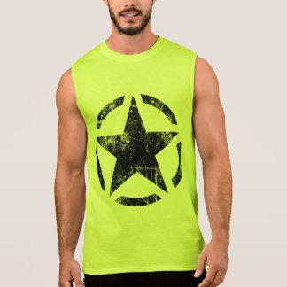 星のステンシルヴィンテージのグランジなスタイル 袖なしシャツ