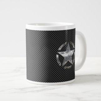 星のステンシルヴィンテージのラベルカーボン繊維のスタイル ジャンボコーヒーマグカップ