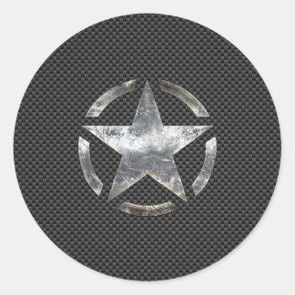 星のステンシルヴィンテージのラベルカーボン繊維のスタイル ラウンドシール
