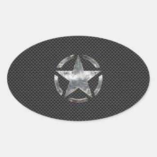 星のステンシルヴィンテージのラベルカーボン繊維のスタイル 楕円形シール