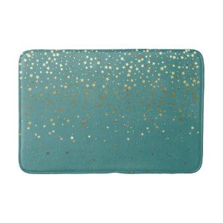 星のティール(緑がかった色)のBathのマット金シャワー バスマット