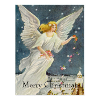 星のバラとのヴィンテージのクリスマスのビクトリアンな天使 ポストカード