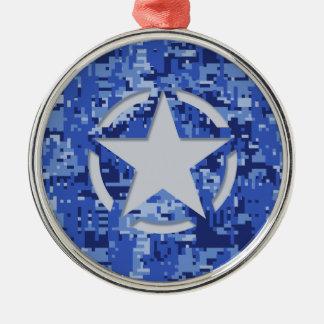 星のラベルのデカールの濃紺の迷彩柄 メタルオーナメント