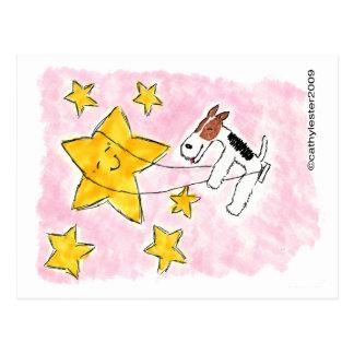 星のワイヤーフォックステリア犬のswingin ポストカード