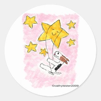 星のワイヤーフォックステリア犬のswingin ラウンドシール