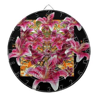 星の取締官ユリの花柄の芸術 ダーツボード