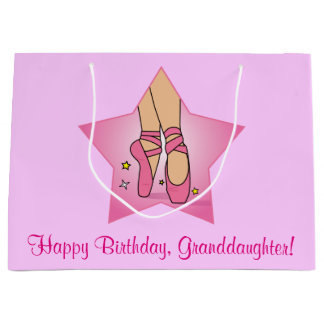 星の孫娘の誕生日のバレエのスリッパ ラージペーパーバッグ