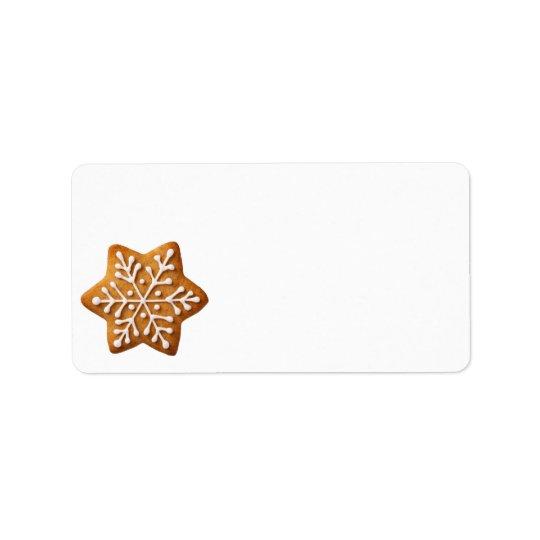 星の形のクリスマスのジンジャーブレッド 宛名ラベル