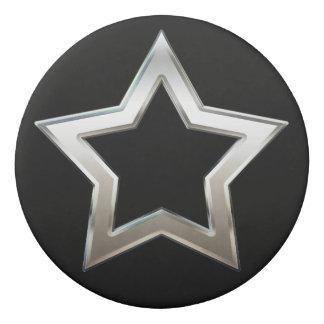 星の形の輪郭のデジタル光沢がある銀製のデザイン 消しゴム