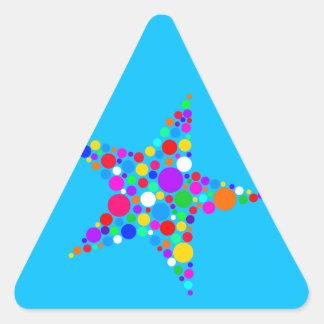 星の明るい虹のクリスマスの正気でない点のデザイン 三角形シール