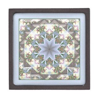 星の曼荼羅の中型の木の宝石箱/Lavender ギフトボックス